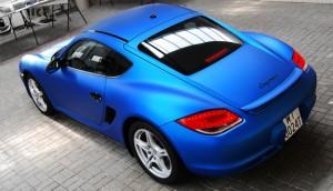 Porsche Cayman zmiana folią: Blue Aluminium